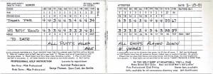 5歳の時の、タイガーのスコアカード。18ホールが全部パー3のホームコース、ハートウエルGPでのもの。この頃でも、結構多くのバーディを記録している(ルデイ・デュランのlibraryから)
