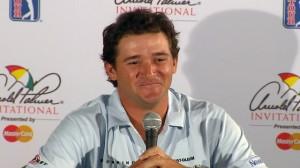 第3ラウンドでもスコアを伸ばし、単独での記者会見。強豪チームを持つ、クレムソン大で学んだだけに、堂々たるものだった(coutesy of PGA Tour)
