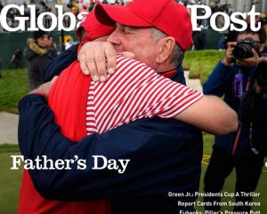 米の雑誌も、この父息子の感動場面を、表紙に持ってきた(Global Golf Post)